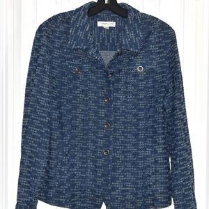 Coldwater Creek Blue Cotton Texture Jacket Size 16